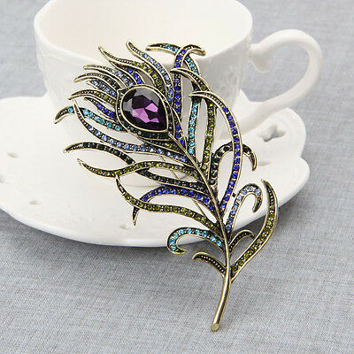 Vintage Peacock Feather D'or Multi-couleur Broches Broche Strass Bijoux