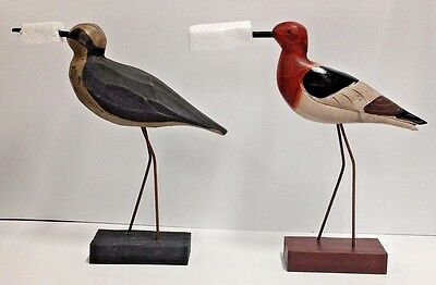 "Dennis East 8.5"" Carved Wood Shore Bird - Orange Dots  ( YOU GET ALL 6 BIRDS )"