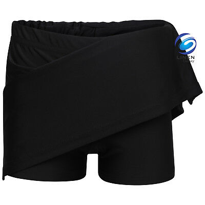 Girls Black Skort School Sports Outer Skirt and Base Layer Soft Stretch Fabric