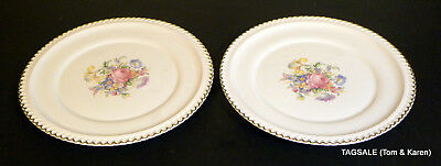 HARKER POTTERY HAR 110 pattern 22 KT Gold Gadroon Edge ~ 2 Dinner Plates 10 3/8""
