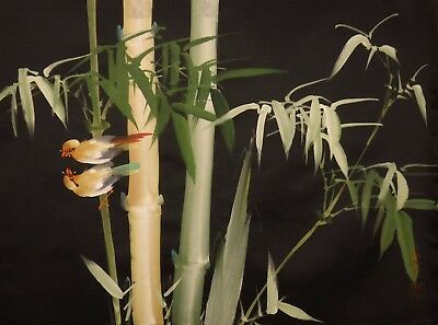 "TA06 Bamboo and birds 20""x16"" painting on taffeta by TANG"