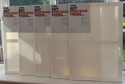 Quantity 5 Hobbycraft 30' x 20' White ART Stretched Canvases – 76.2 x 50.8 cm