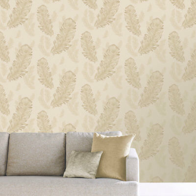 Feather Quill Wallpaper Luxury Weighted Metallic Shiny Gold Sirius