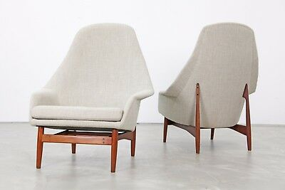 Set of Two High Back Lounge Chairs by Ib Kofod-Larsen, 1957 | Sessel 60er