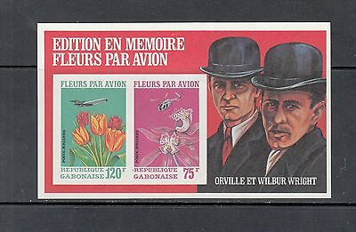 FLORA/FLOWERS/AVIATION -Gabon 1971 sheet of 2 (SC C111A-IMPERF) - MNH- Y465
