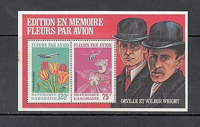 FLORA/FLOWERS/AVIATION -Gabon -'71 sheet of 2 (SC C111A-perf) - MNH- Y464