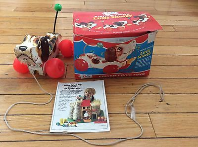 Vintage #693 Fisher Price Little Snoopy Wood Pull Toy Puppy Dog with Box 1960's