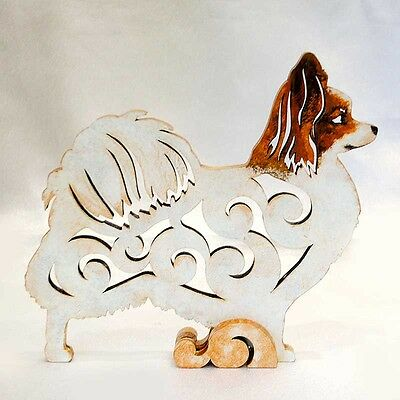 Papillon dog figurine, statuette made of wood