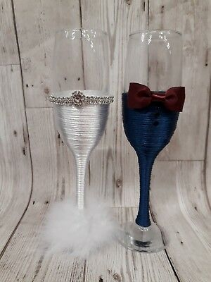 Mr & Mrs BRIDE and GROOM Wedding glass set Champagne toasting flutes navy