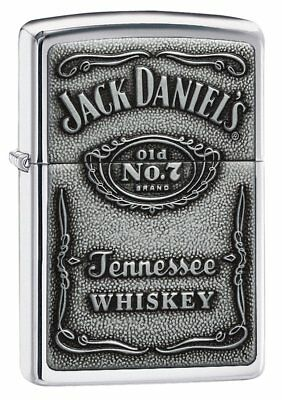Zippo Jack Daniel's Tennessee Whiskey Emblem Pocket Lighter, High Polish Chrome