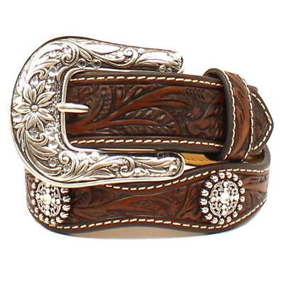 Ariat Girl's Scalloped Floral Tooled Brown Leather Belt A1304267