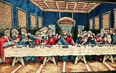 "The Last Supper Wall Hanging Tapestry 37"" Long By 19"" Wide Christian Italy"