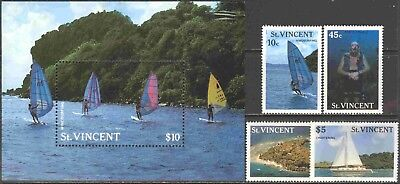 1988 St. Vincent #1095-9 Complete MNH Set of 4 + SS Commemorating Tourism