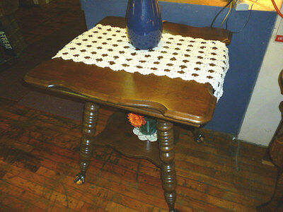 Antique OAK TABLE tiger quarter sawn glass ball & claw feet refinished