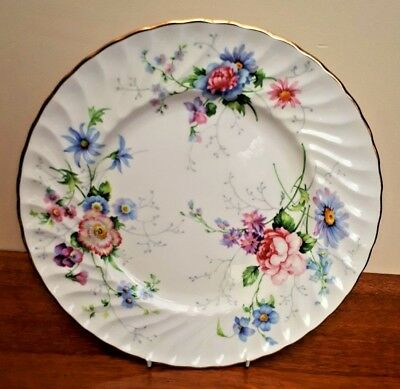 "Crown Staffordshire Englands Glory Floral Plate 10.5"" Signed J.T.Jones VGC"