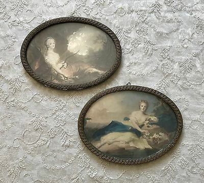 BEAUTIFUL PAIR - Vntg Victorian Lady PRINT / OVAL FRAME Ornate Geso Antique Gold