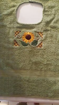 Adult Bib  Clothing Protector   Sage Green with Sunflower