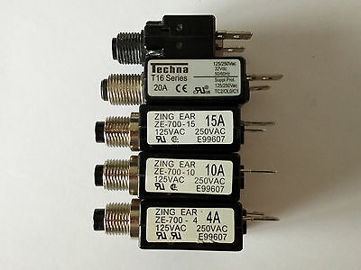 Panel Mount Resettable Circuit Breakers. 4A 10A 15A 20A