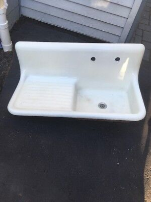 "1931 RIght Side High Back Cast Iron 42"" Farmhouse Sink With Drain Board"