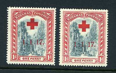 """Bahamas 1917 Red Cross - Long Stroke to """"7"""" flaw SG 90a mint"""