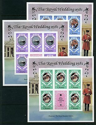 Ghana 1981 Royal Wedding IMPERF m/sheets SG 952/4 varieties MNH