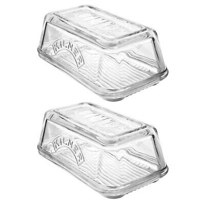 2PK Kilner Glass Butter Dish Dishwasher/Microwave Safe Container Tableware