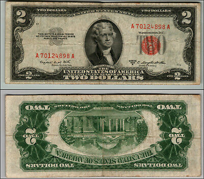 1953B  $2 Dollar Bill Red Seal United States Currency L Z937