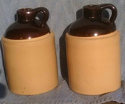 Pair of small pottery jugs, country decor vases, vintage, made in USA