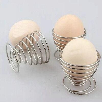 Metal Egg Cup Set Spiral Kitchen Breakfast Hard Boiled Springs Holders Egg Cups