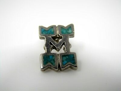 Vintage Collectible Pin: Letter M Beautiful Turquoise Silver Tone Design
