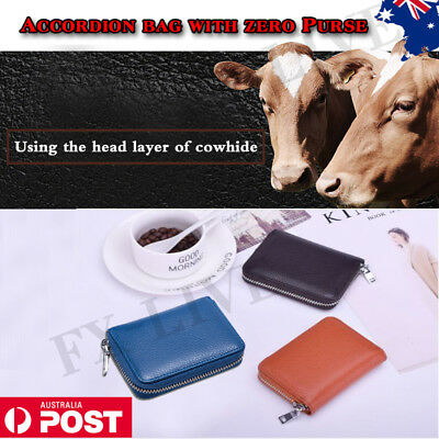 NEW Genuine Leather Business ID 24 Credit Card Holder Men Women Purse Wallet