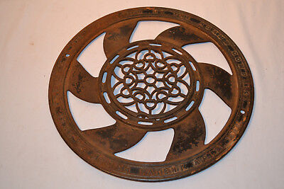 Antique 2 Piece Cast Iron Round Wall Ceiling Floor Grate Air Vent Grille