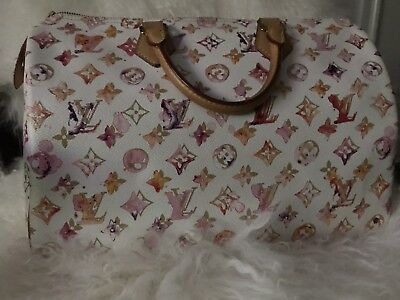 f65dc1c05e2c AUTHENTIC LOUIS Vuitton Aquarelle White Watercolor Speedy 35 Richard Prince  -  3