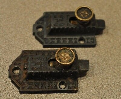 2 Antique Cabinet Latches Hardware No Keepers Eastlake Brass Knobs