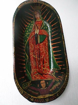 "16"" Mexican Folk Art Carved Wood Dough Batea Bowl Kitchen Virgin of Guadalupe"