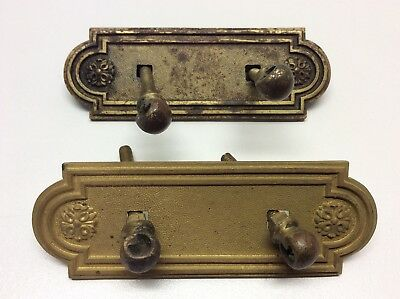 Antique Brass Drawer Handle Cover Plates Face Plates Victorian Early O2