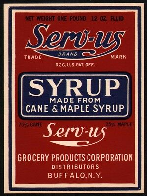 Vintage label SERV US SYRUP Cane and Maple Grocery Products Buffalo NY n-mint+