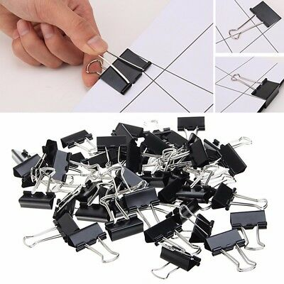 48pcs New 25mm Black Metal Binder Clips Document File Paper Clip Office Supplies