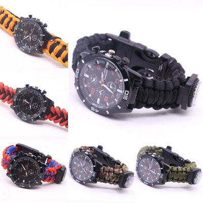 Outdoor Camping Escursionismo Paracord Wrists Orologio Compass Flint Whistle