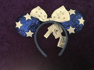 NEW Disney Minnie Mouse Ear Headband Patriotic Blue Sequin With Stars