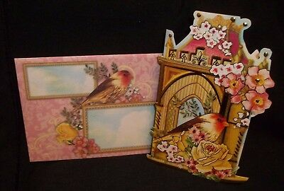 Beautiful embellished blank note card with full color envelope Bird and flowers