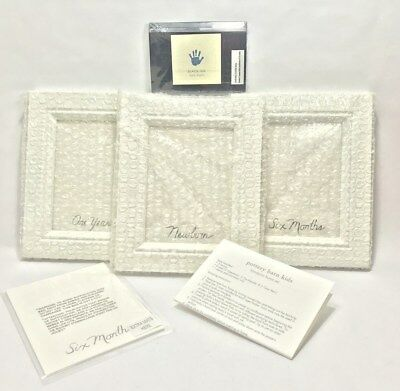 Pottery Barn Kids Hand Print Frame Set First Year 3 White Frames 4.5 x 6 In Box
