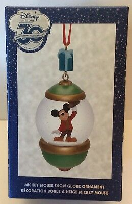 Mickey Mouse Snow Globe Ornament Holiday Christmas Disney Store 30th Anniversary