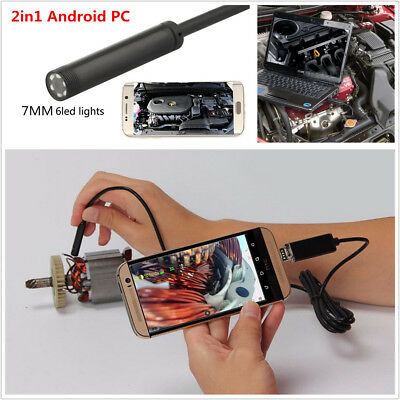 2in1 Multifunction 7mm 10M 6LED Waterproof Autos Endoscope HD Inspection Camera