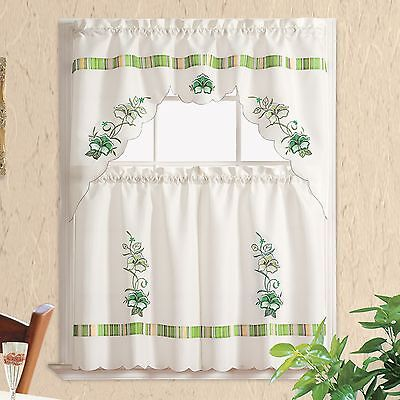 PANSY STRIPE. Embroidery 3pcs kitchen curtain/ cafe curtain set. Sage