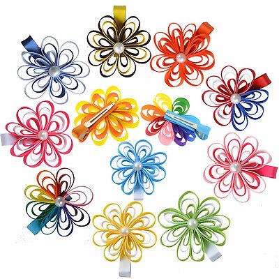 """3.5"""" Flowers Hair Bows Clips for Teens Girls Babies Toddler 12PCS"""