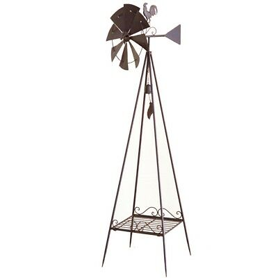 Heavy Duty Windmill Metal Ornament Garden Sculpture Rust Rustic Rooster *170 cm*