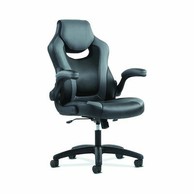 basyx by HON Racing Gaming Computer Chair- Flip-Up Arms, Black and Gray