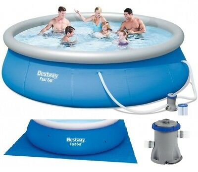 Bestway fast set swimming pool round inflatable best for Gartenpool mit pumpe