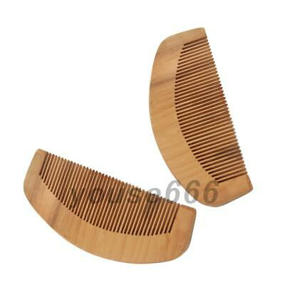 2PCS Retro Peach Wood Comb Close Teeth Anti-static Head Massage Hair Care Wooden